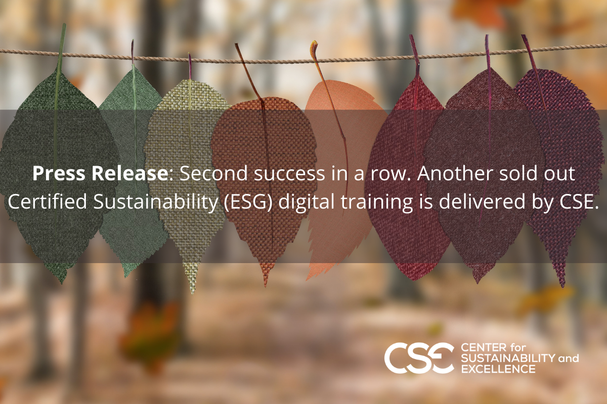 PRESS RELEASE: Second Success in a row. Another sold out digital Certified Sustainability (ESG) Program.