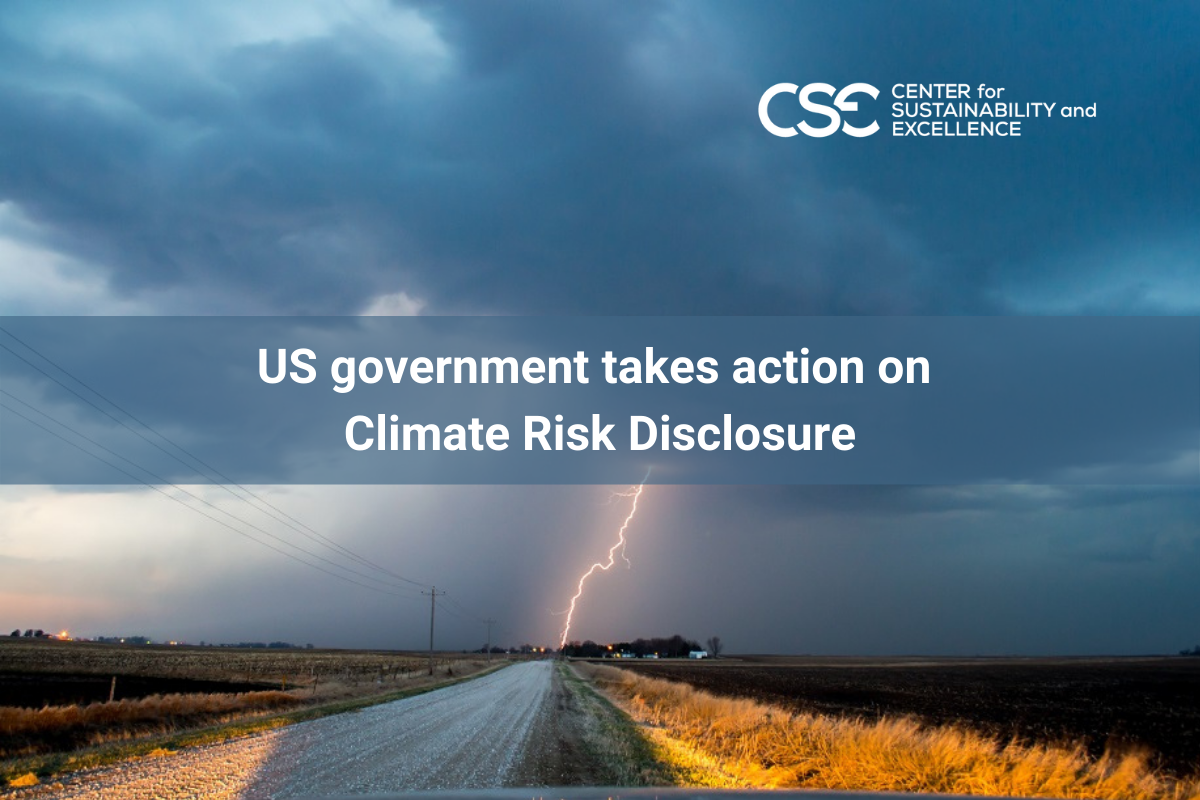 US government takes action on Climate Risk Disclosure