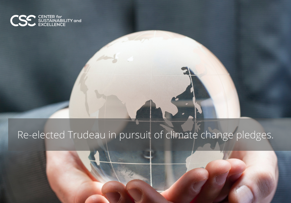 Re-elected Trudeau in pursuit of climate change pledges.